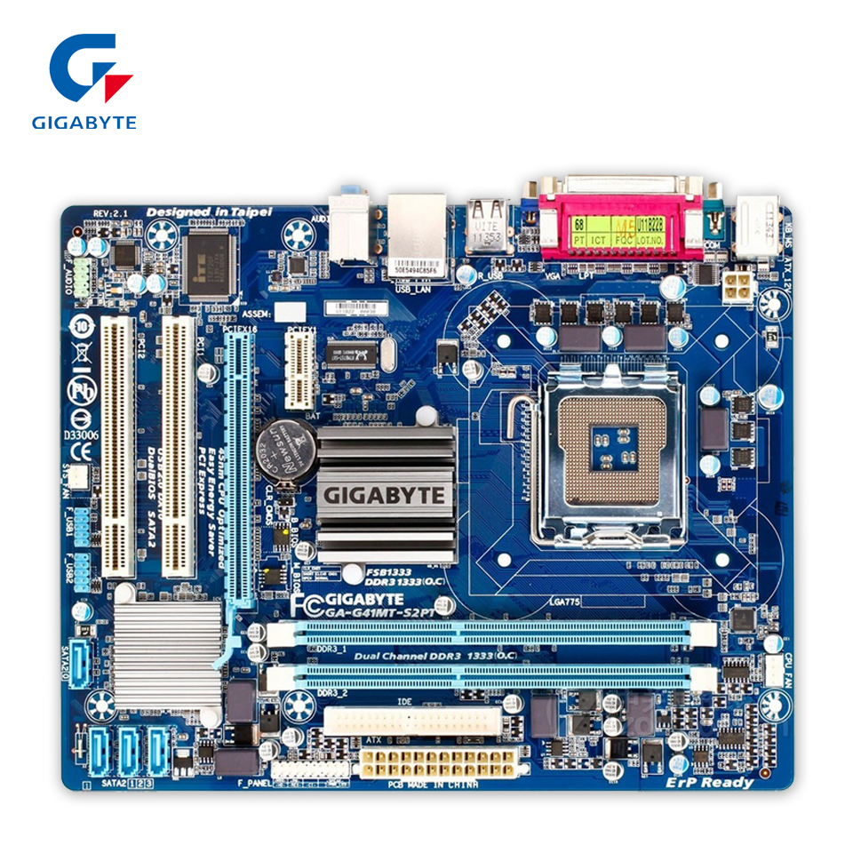 цены  Gigabyte GA-G41MT-S2PT Original Used Desktop Motherboard G41MT-S2PT G41 LGA 775 DDR3 8G SATA2 USB2.0 Micro-ATX