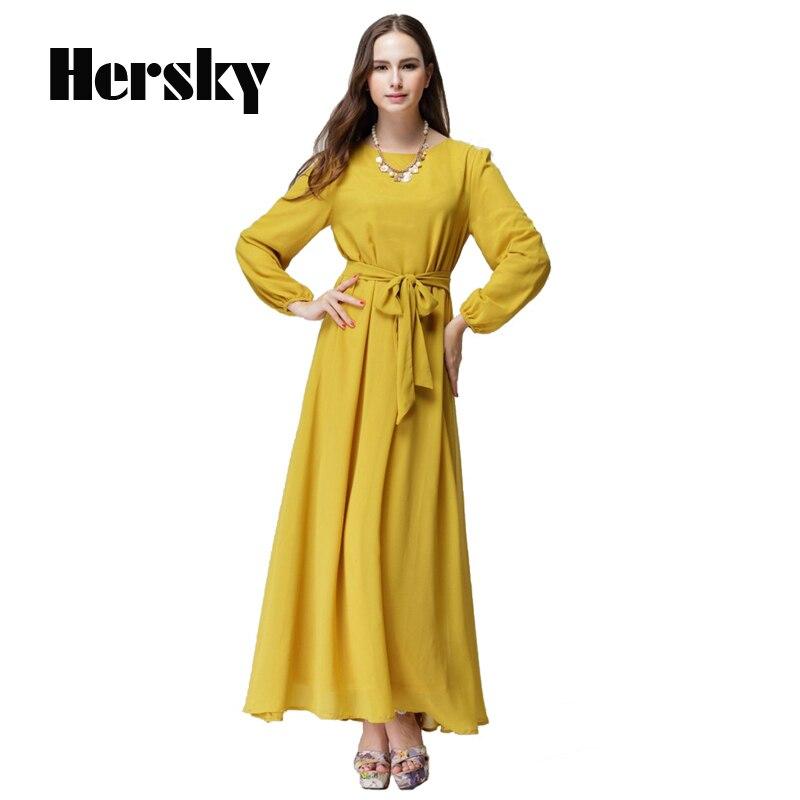 Abaya Turkish women clothing muslim dress Islam Slim vestidos longos lady long sleeve Dresses Dubai kaftan Abayas With a belt