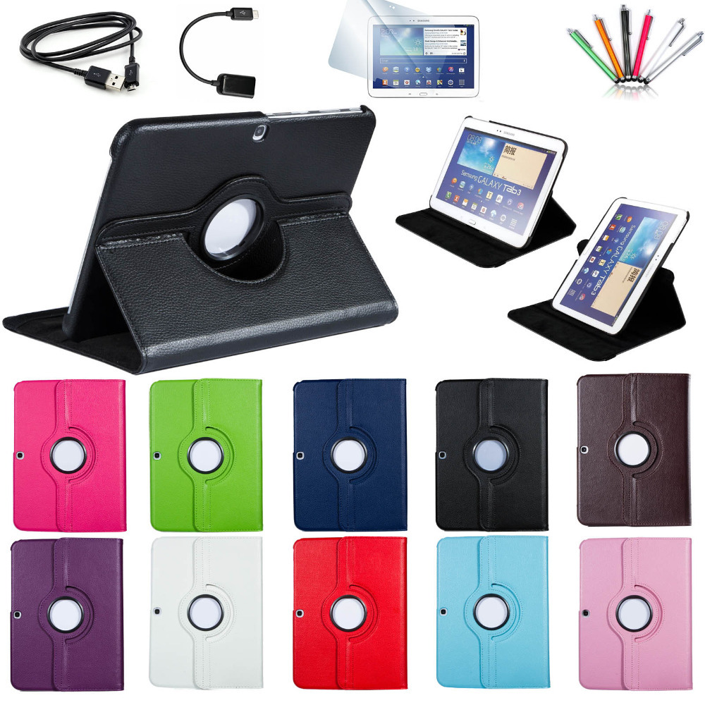 7 in 1 For Samsung Galaxy Tab 3 10.1 inch P5200 P5220 P5210 Tablet PU Leather Smart Case Cover 360 Rotating Screen Protector