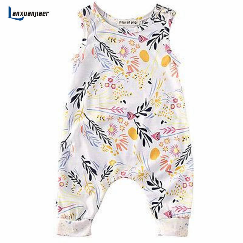 Lanxuanjiaer Newborn Kids Toddler Baby Girl Clothes Sleeveless Romper Floral Jumpsuit Playsuit Summer infant costume
