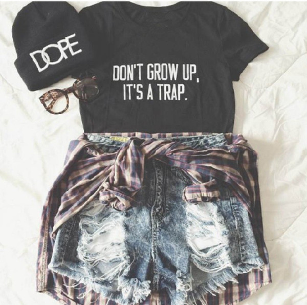 3559d1ff4ba42 DON T GROW UP IT S A TRAP Tumblr shirts Women cute t shirt crewneck tops