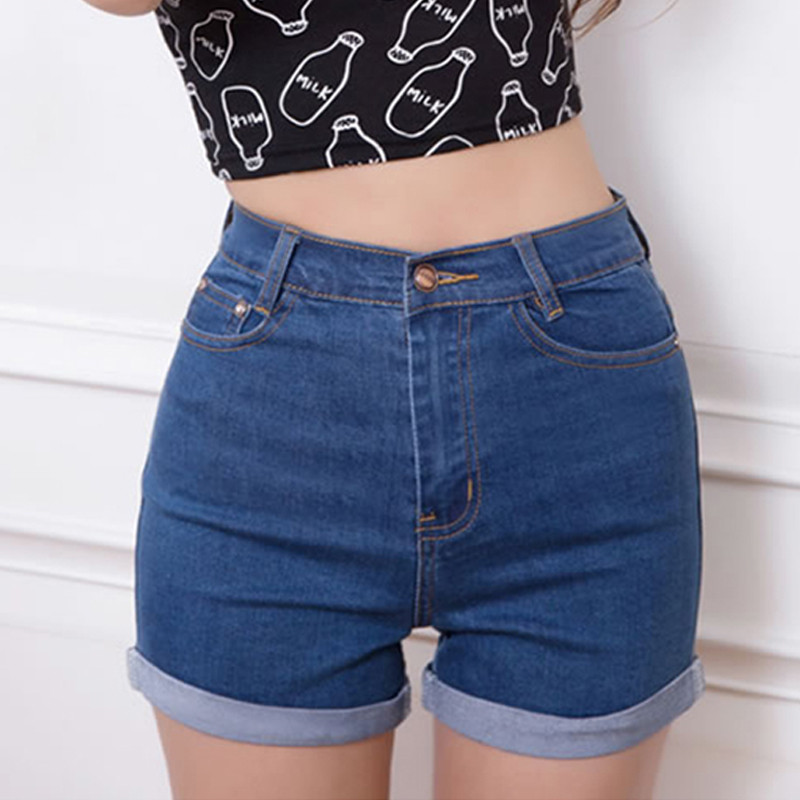 Casual-2016-New-Korean-Style-Summer-Vintage-High-Waisted-Denim-Women-Shorts-Plus-Size-Slim-Stretch
