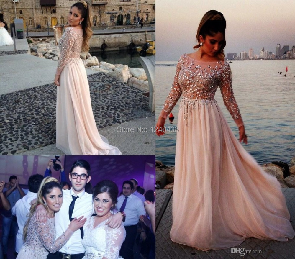 2015 Distinctive Crystal Beaded Prom Dresses Sheer Bateau Neck Long Sleeves A-Line Chapel Train Chiffon Evening Gowns - Dream blue wedding dresses store