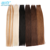 BHF Tape In Human Hair Extensions Double Drawn Remy Tape In Natural Straight Hair On Adhesives 20pcs /set Invisible Hair