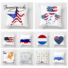 Fuwatacchi  National Flag Painting Cushion Cover USA French Decor Printed Throw Pillows Case Home Sofa Decorative Pillows Cover