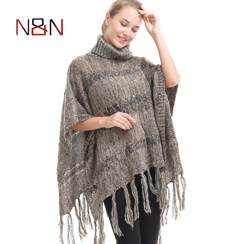 New Turtleneck Knitted Scarf Women Poncho And Capes Striped Pullovers Ladies Cardigan Long Sleeve  Casual  Sweaters