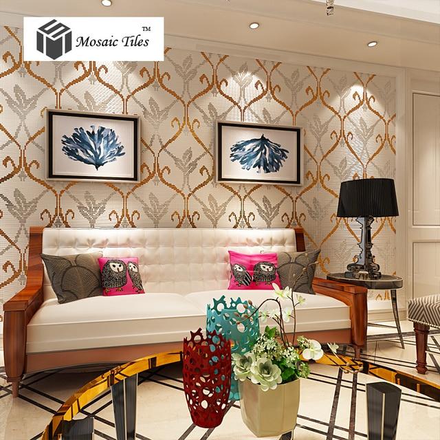 Mosaik Tapete Fliesen Bisazza Gold Silber Spiegel Muster TV Hintergrund  Wohnzimmer Wand Deco Innen Backsplash Bad