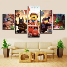 5 Pieces Lego Movie Kids Canvas Poster Wall Art Modular Pictures Home Decor Wall Pictures For Living Room Oil Cuadros Decoracion(China)