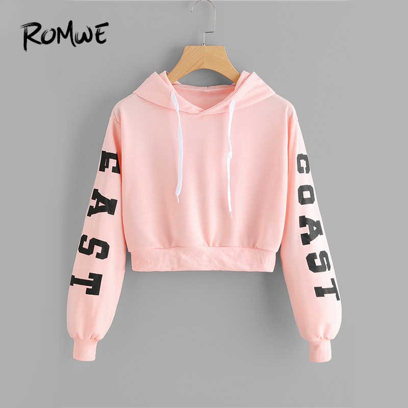 af0e4350bad099 ROMWE Pink Cropped Hoodies Drawstring Casual Women Letters Print Long Sleeve  Hooded Sweatshirt Autumn Graphic Sweet