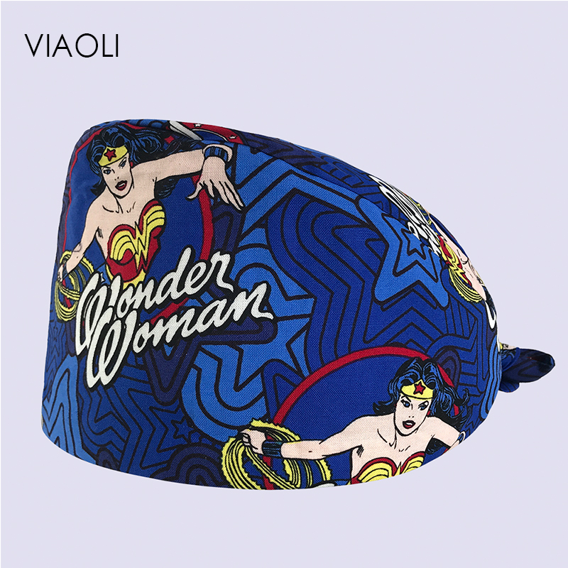 Dentists Surgical Hats Masks Women Medical Surgical Scrub Caps Print Adjustable Men Pet Doctor Hat Mask Unisex Pet Hospital