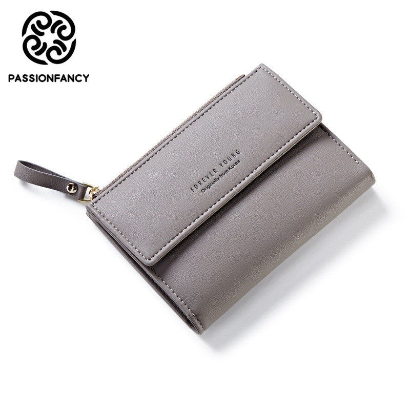 Latest Women Wallet Leather Zipper Fashion Lady Portable Multifunction Short Solid Color Change Purse Hot Female Clutch Carteras new women fashion leather hasp tri folds wallet portable multifunction long change purse hot female coin zipper clutch for girl
