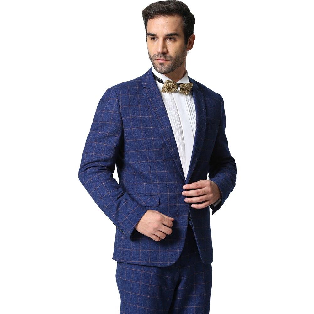 Button Designer Hommes Suit 2 Casual Homme Pantalon 2016 Gris Marque Blue 1 Blue veste Business 1 Black Bleu 2 Costumes Plaid piece Et Slim Foncé Fit Mode Grey 5O1nxPxq