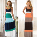 2016 da praia do verão longo sem mangas vestidos bodycon casual dress moda mulheres de slim estilo listrado maxi dress for lady férias