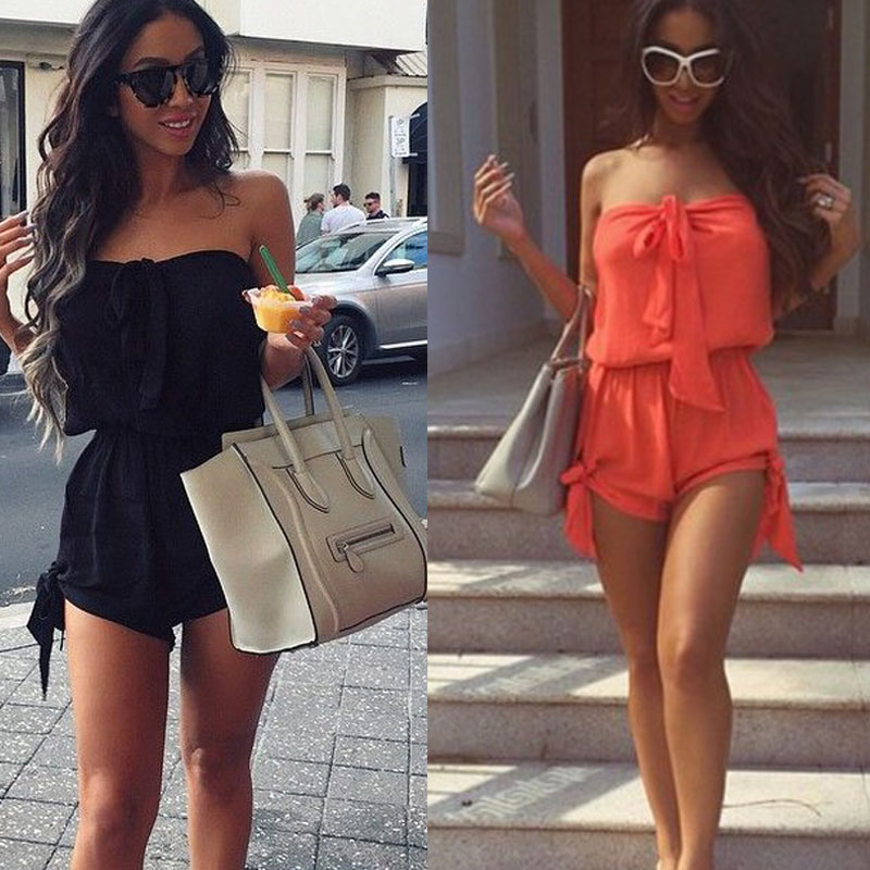 Newly Summer Women Sexy   Jumpsuit   Off Shoulder Lace-up Sleeveless Elastic Solid Color Casual Short Romper