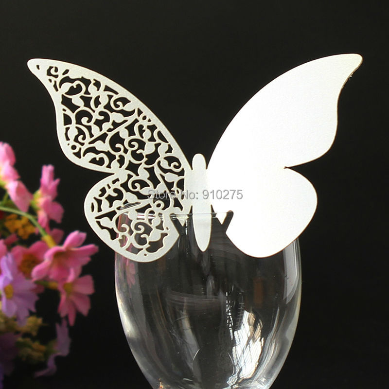 200pcs White Elegant Butterfly Vine Design Wine Glass Place Cards Laser Cut Pearl Paper Name Number Cards Party Centerpieces