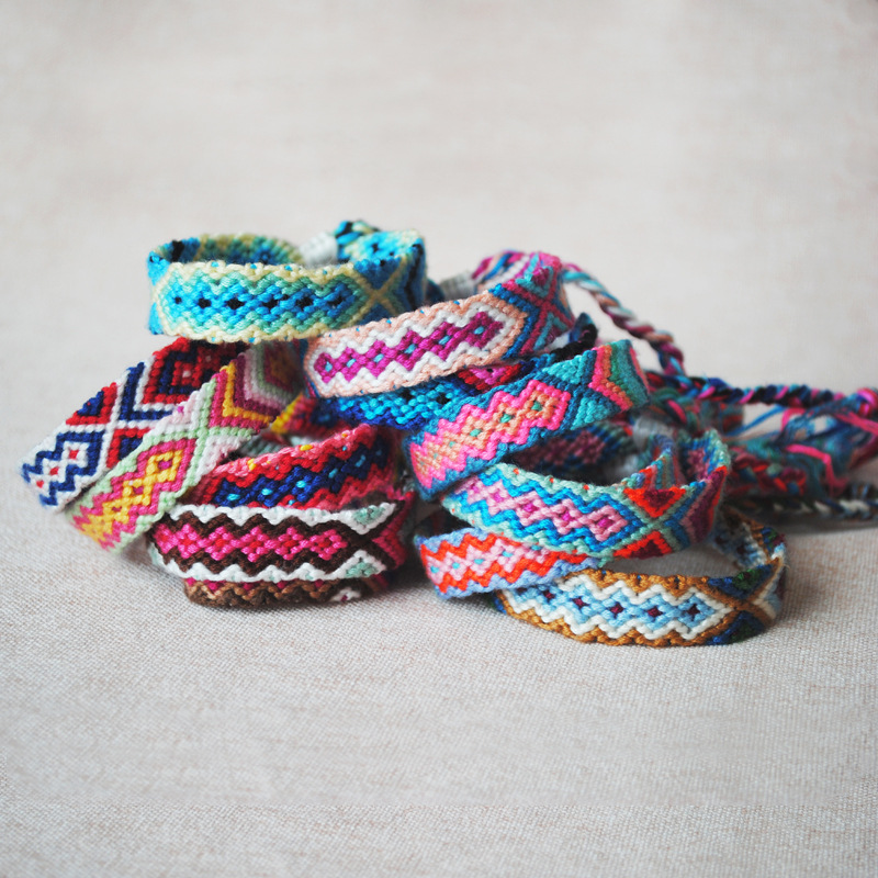 Braided Bracelets Jewelry Hand-Weave Cotton-Rope Ethnic Multi-Color Bohemian Vintage