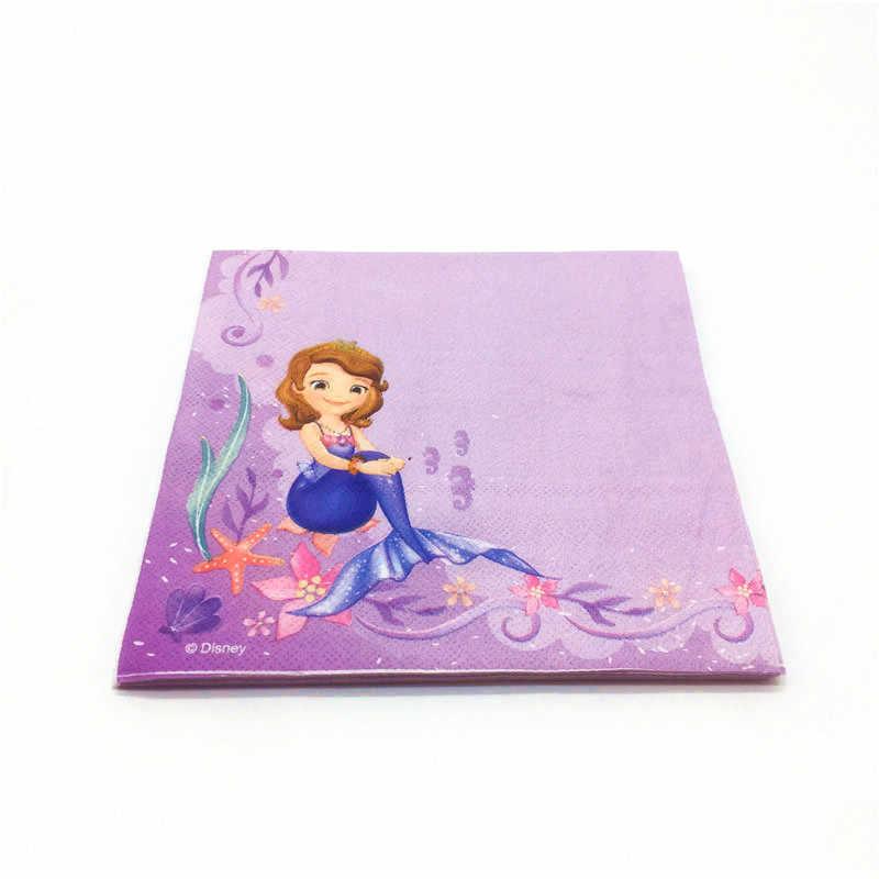 Disney princess sofia festa de aniversário suprimentos pratos de papel copos palhas guardanapos 28 pçs conjunto de talheres descartáveis chuveiro do bebê evento