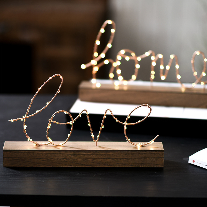 Battery Operated Night Lamp Nordic Wooden Base Iron Love Home Letter Night Light Cozy Bedroom Desk Lamp Vogue Adornment Warm