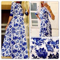 Women Celeb Vintage Wrap Floral 3/4 Sleeve Party Long Maxi Dress vestidos