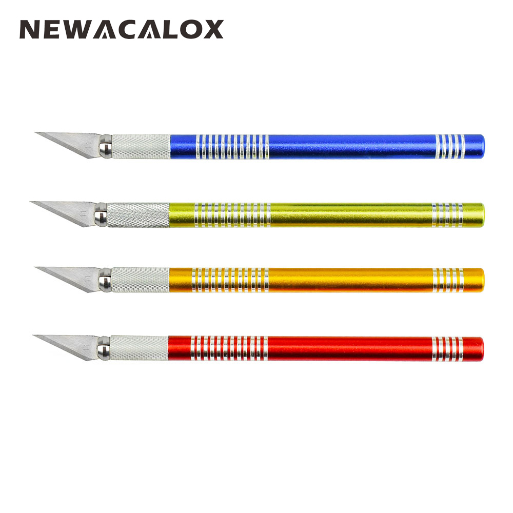 NEWACALOX 19PCS Precision Hobby Knife Stainless Steel Blades for Arts Crafts PCB Repair Leather Films Tools Pen Multi Razor DIY newacalox 20pcs stainless steel blade for mobile phone films tools cutter crafts hobby knife diy scalpel wood carving pcb repair