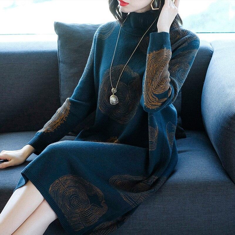 2019 nouveau automne hiver tricot robe femmes longue section col roulé femme à manches longues Bottoming laine pull robe X116 - 2