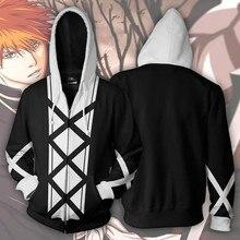 BLEACH Kurosaki ichigo Costume Cosplay Anime Hoodie Sweatshirt Jacket Coats Men and Women New