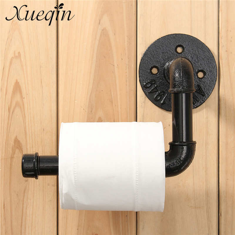 xueqin industrial style wall mounted bathroom toilet roll paper holder towel rack black pipe metal toilet paper roll holder - Commercial Bathroom Paper Towel Dispenser
