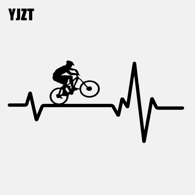 YJZT 16.9CM*7.9CM  Cycling Mountain Bike  Helmet Heartbeat Decal Vinyl Black/Silver Car Sticker C22-1238