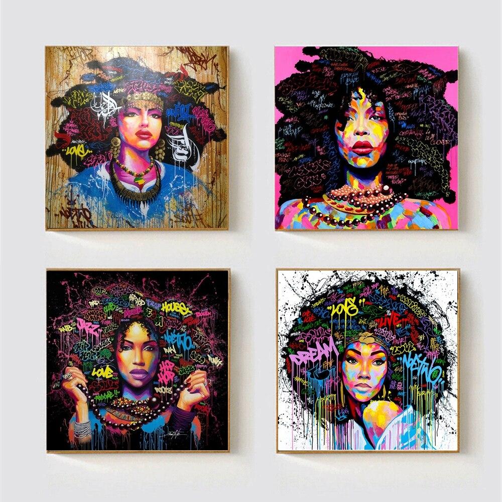 African American Frauen Porträt Wand Kunst Schwarz Abstrakte Afro Poster Leinwand Malerei Küche Office Home Decor Graffiti Dropship