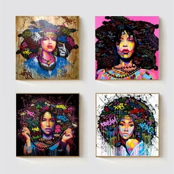 African American Women Portrait Wall Art Black Abstract Afro Poster Canvas Painting Kitchen Office Home Decor Graffiti Dropship