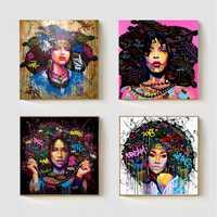 Afrikanische Frauen Porträt Wand Kunst Abstrakte Afro Poster Leinwand Malerei Office Home Wohnzimmer Decor Drop Shipping