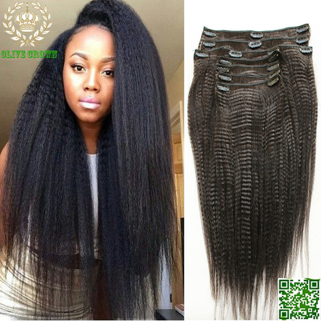 US $60.0 |Light Yaki Clip In Human Hair Extensions
