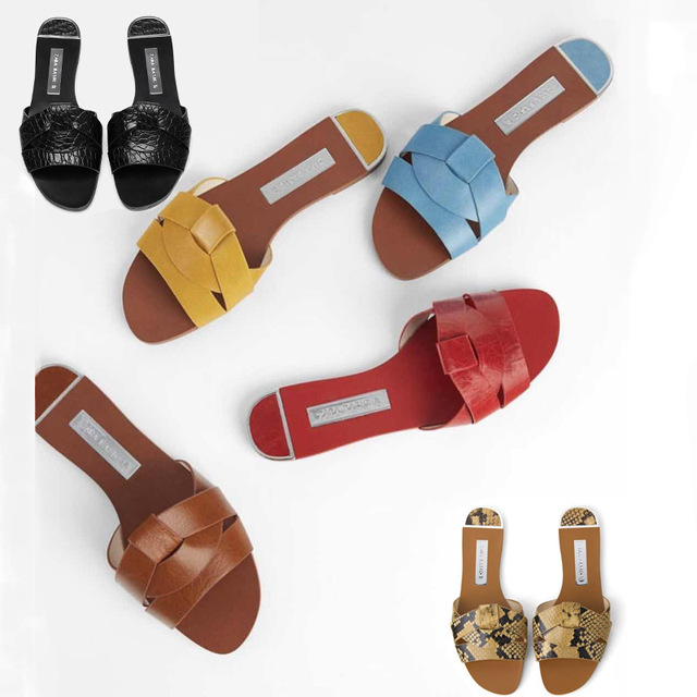 Sandals female flat bottom 2019 summer new leather Cross decorative flat with female sandals wine red lazy slippers