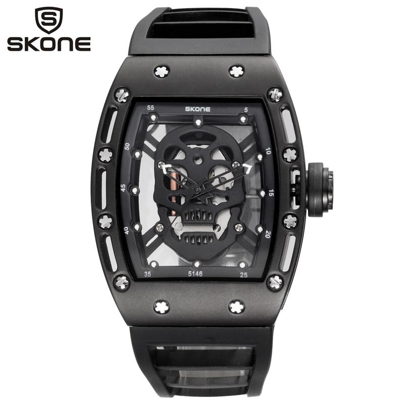 SKONE Fashion Quartz Men Watches Brand Men Silicone Man Sports Watch Skull Style Black Skeleton Wristwatches Relogio Masculino skone relogio 9385