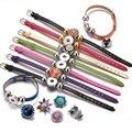 New Arrivals 15 Colors PU Leather DIY Armband Fit 18mm Snap Button Bracelet Jewelry SZ0281