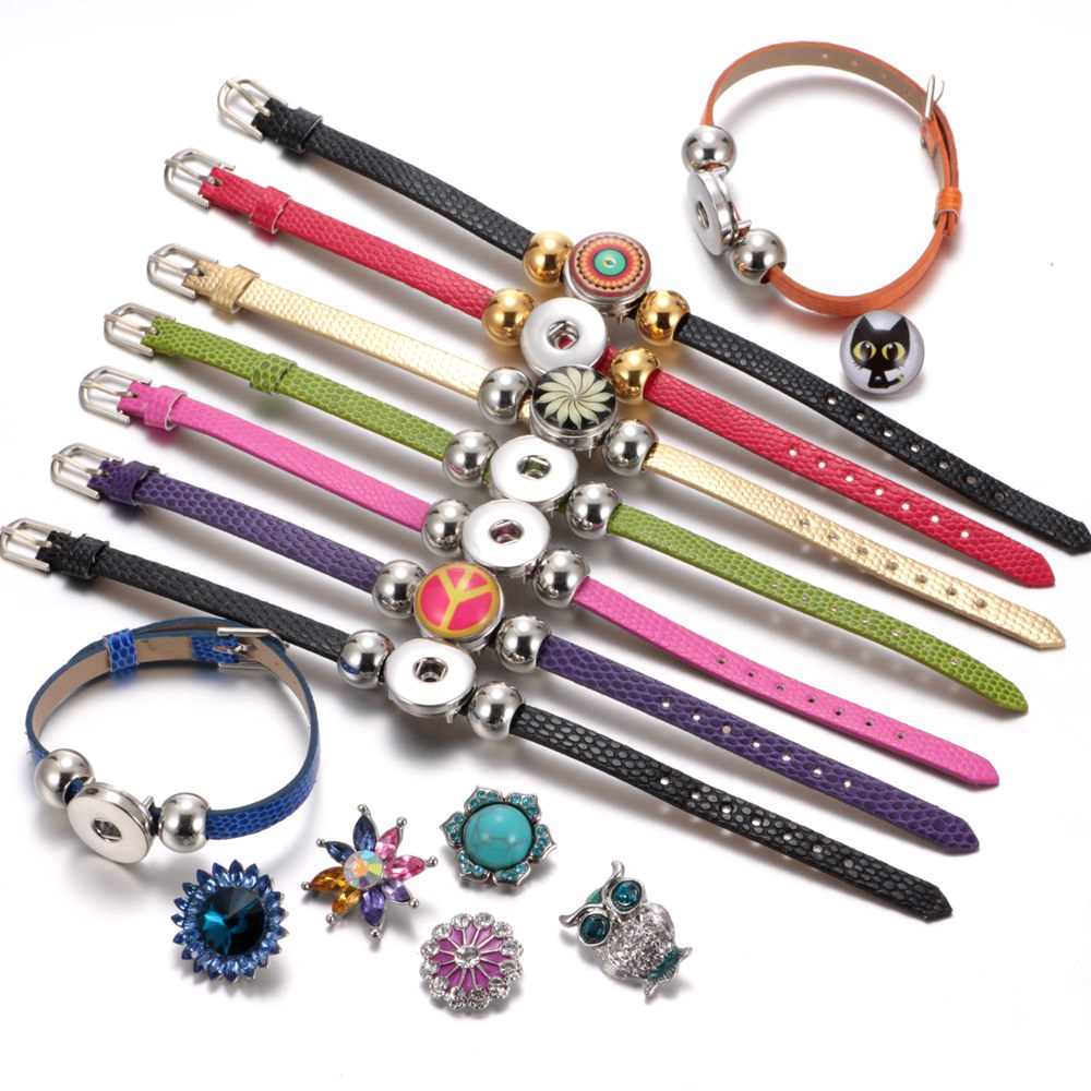 New Arrivals 15 Cols Cheaper PU Leather DIY Armband 18mm Snap Button Bracelet Jewelry SZ0281