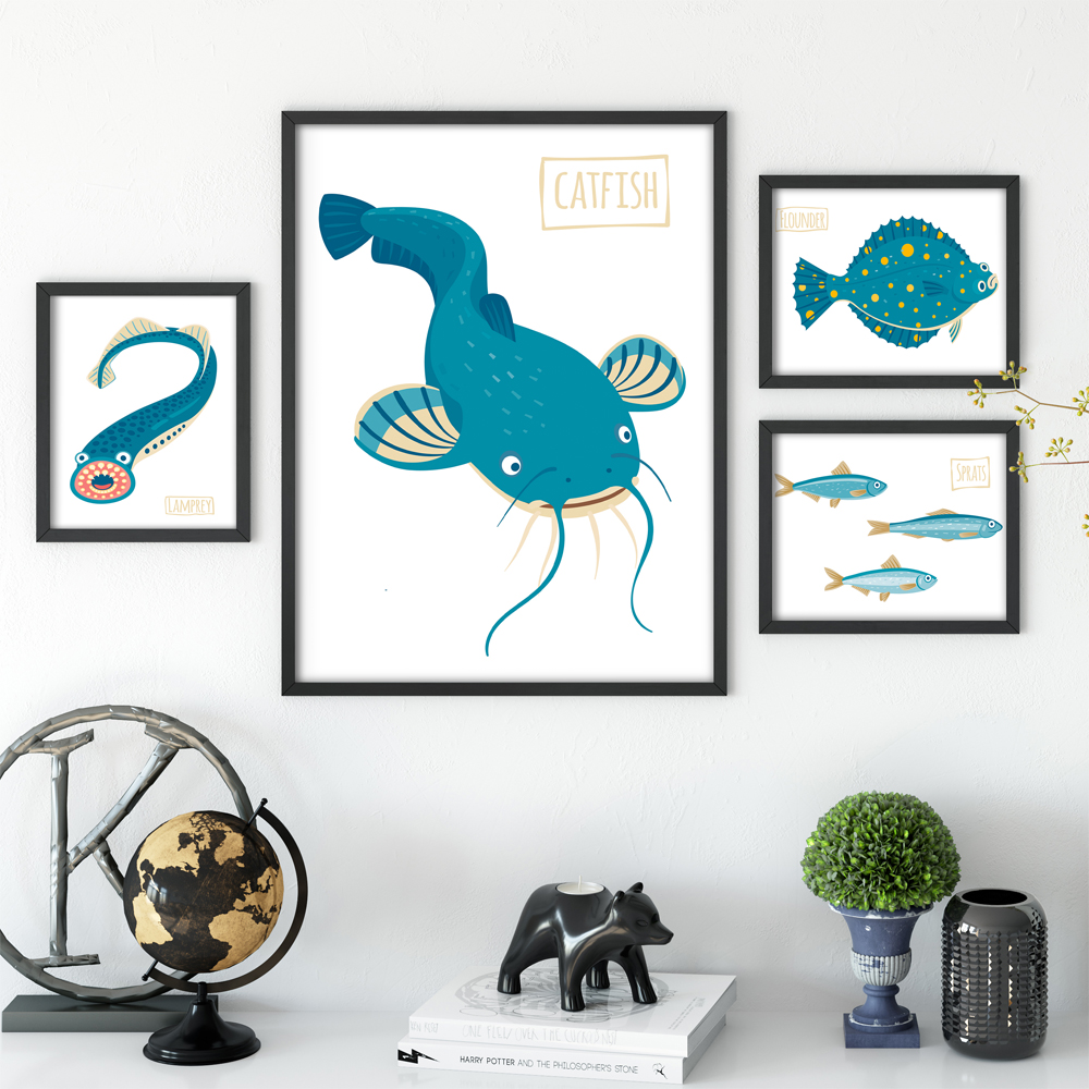 Modern Nordic Ikan Laut Kartun Ikan Dan Udang A4 Lukisan Kanvas Seni Cetak Poster Gambar Lukisan Dinding Dekorasi