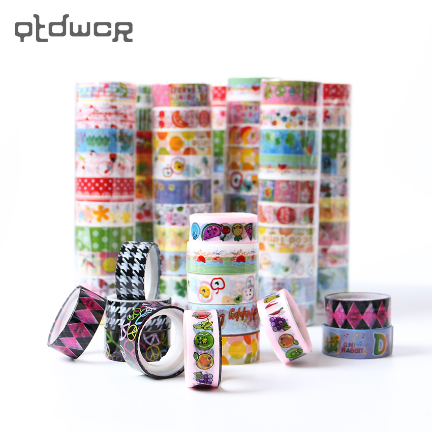 10PCS 15mm DIY Sticky Adhesive Tape Kids Decorative Scrapbooking Cartoon Tape Office Stationery Gift Style Random