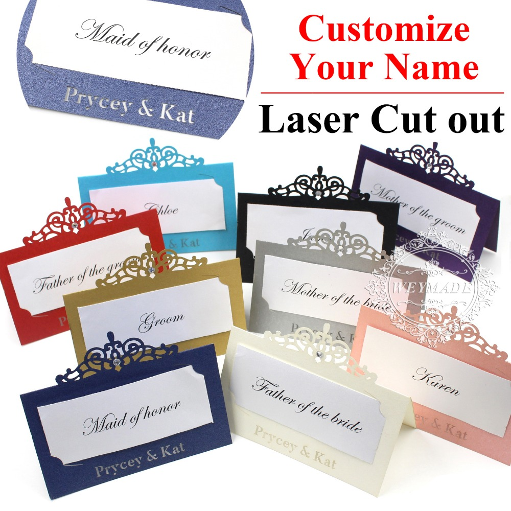 Us 24 99 60 Personalized Bride Groom Name Free Print Laser Cut Place Name Cards Customized Wedding Anniversary Name Place Cards In Cards