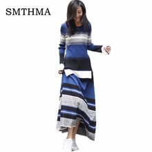 SMTHMA 2019 Autumn Winter Women's Round Collar Flare Sleeve Gradient Long Sweater