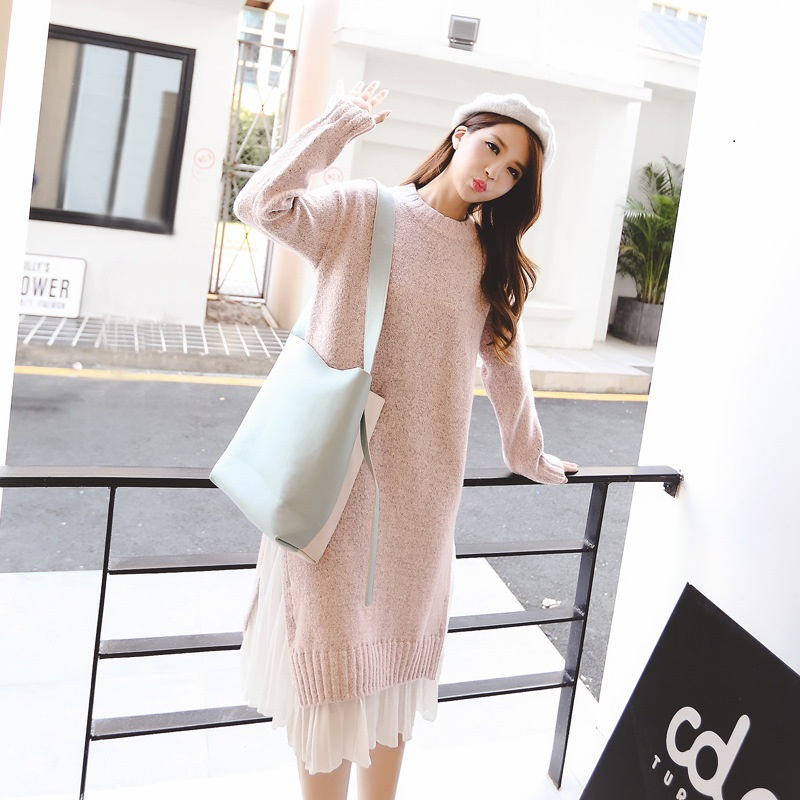 Donna Autumn Women Knitted Sweater Dress Long Sleeve Pleated Chiffon Hem Patchwork Fake 2 Piece Pullover Loose Dresses L420Z