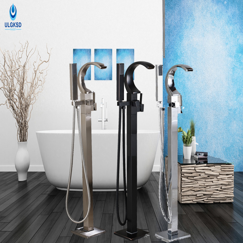 Ulgksd Bath Floor Standing Shower Faucet Waterfall Rainfall Faucet One Handle Bathtub Mixer Taps Faucet W/Hand Shower Tub Filler цена и фото