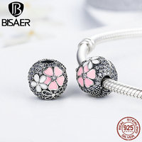 BISAER Exclusive Original 925 Sterling Silver Round Shape Pink Flower POETIC BLOOMS CHARM Charms Fit Pandora
