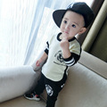 Baby Boy Clothes 2015 Hot Fall O-neck Pullover 100%Cotton Letter Fashion Baby Girl Clothes Brand Baby Coat Set 2pc(t Shirt+pant)