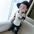 Baby Boy roupas 2015 outono quente pulôver O pescoço 100% algodão carta moda bebê garota troca de roupa marca conjunto casaco bebê 2 pc ( camiseta + calça )