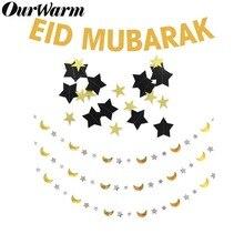OurWarm EID Mubarak Banner Glitter Festival Bunting Garland Islamic Muslim Decoration Ramadan Kareem