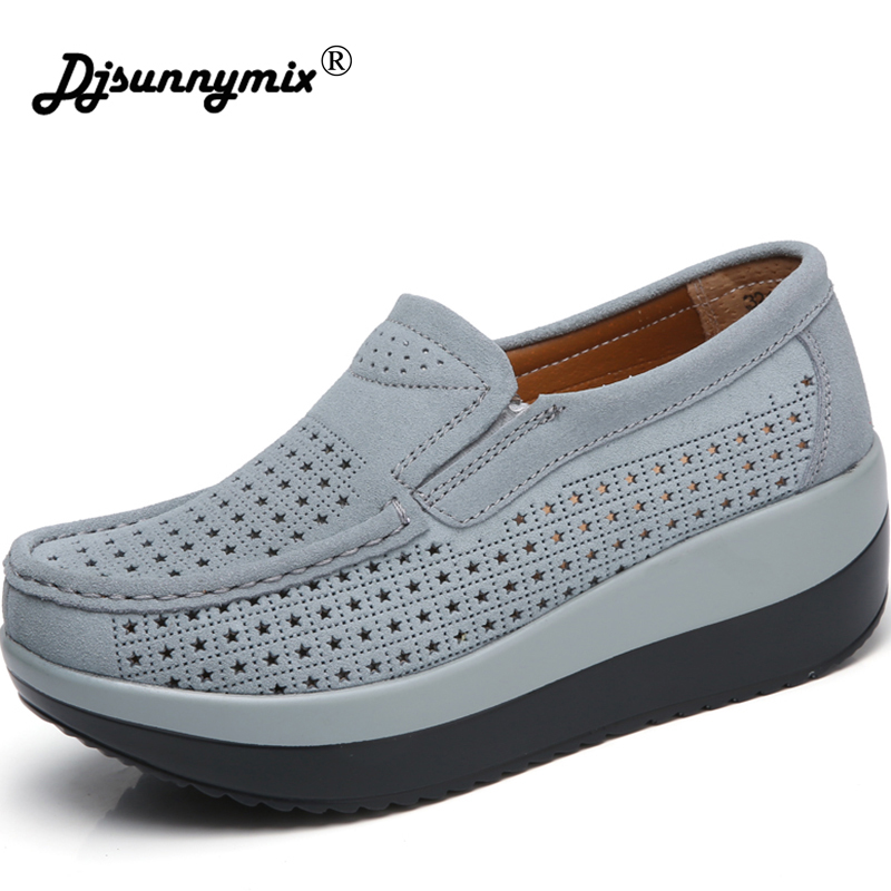 DJSUNNYMIX New Women Casual Shoes Genuine Leather Breathable Height Increasing sneakers Fashion Swing Shake Shoes Big size41 n11 new 2017 height increasing women casual shoes zapatillas body shaping fitness shoes fashion swing shoes for female shoes