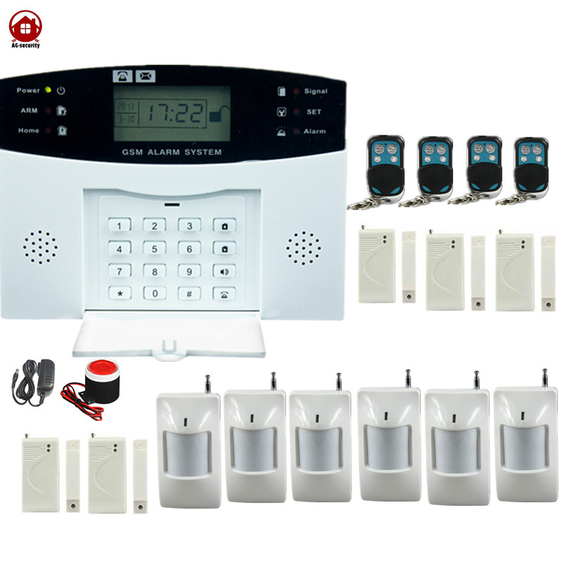 AG Security English Russian Spanish French Voice Smart Home Security GSM Alarm System LCD Display Wired Siren Kit SIM SMS Alert gsm sms home burglar security gsm alarm system detector sensor kit remote control english spanish french voice support