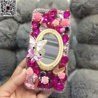 Jewelled Butterfly Crown Cat Cross Rhinestone Diamond DIY Handmade Phone Cover Case For Samsung Galaxy J5