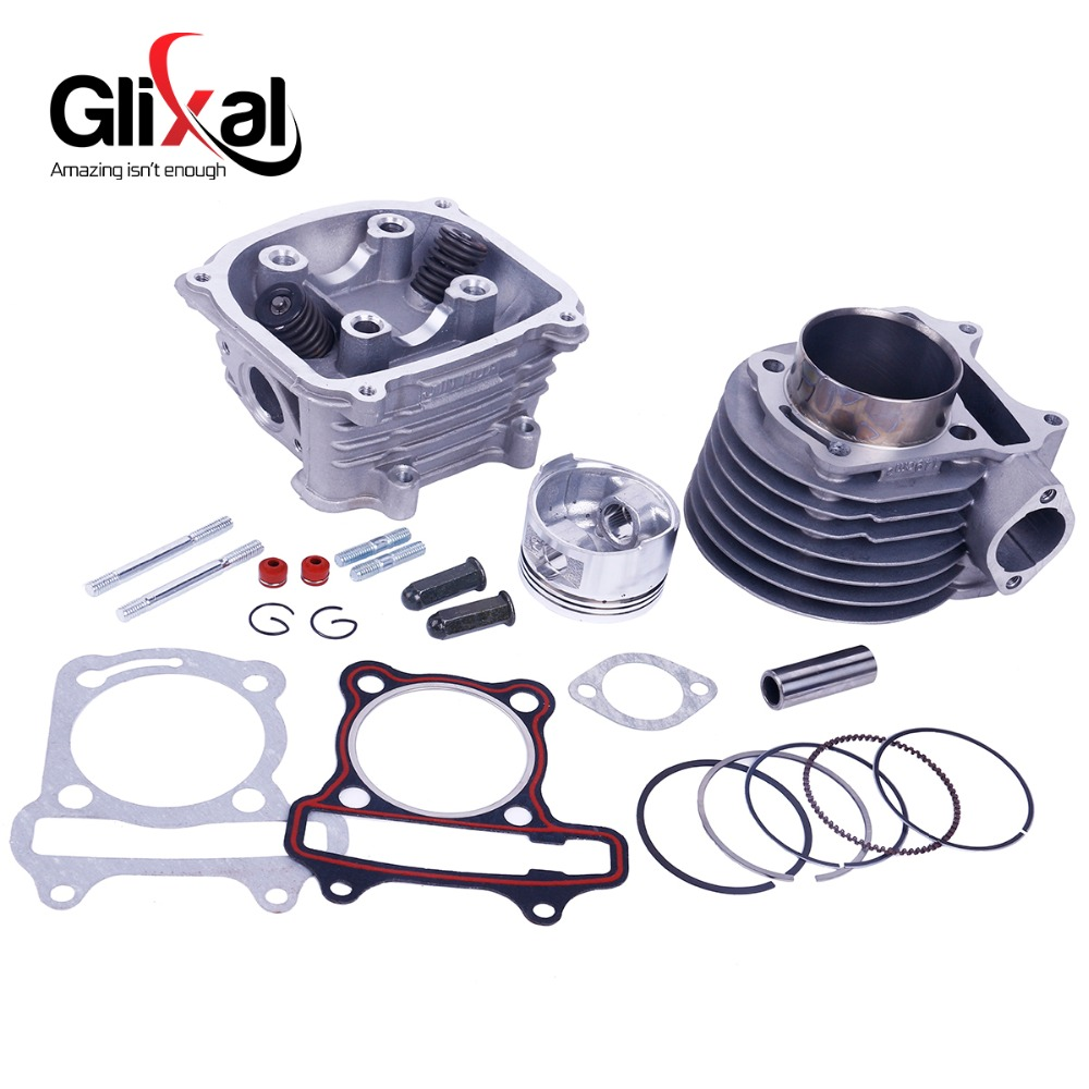 Glixal GY6 180cc 61mm Scooter Engine Rebuild Kit Big Bore Cylinder Kit Cylinder Head assy for 4-stroke 157QMJ Moped Scooter ATV new set 47mm big bore kit cylinder piston rings fit for gy6 50cc to 80cc 4 stroke scooter moped atv with 139qmb 139qma engine